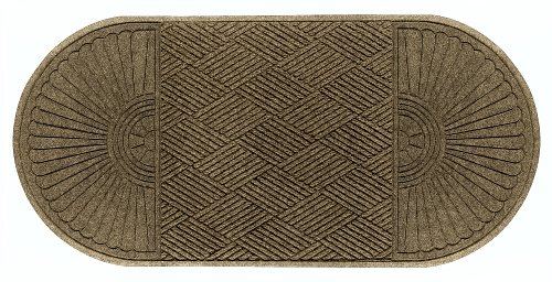 M+A Matting 274 Waterhog ECO Elite Polypropylene Entrance Indoor/Outdoor Floor Mat, Half Oval Two End, 7.1' Length x 3' Width, Camel ()