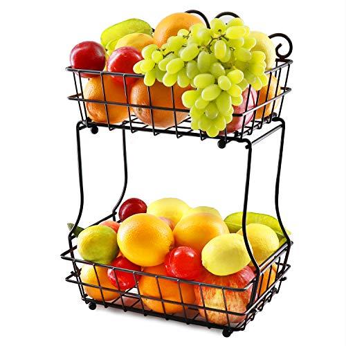 HENSUN 2 Tier Metal Fruit Bread Storage Basket Display Stand For Fruit, Vegetables, Snacks, Removable Screwless, Antique Black