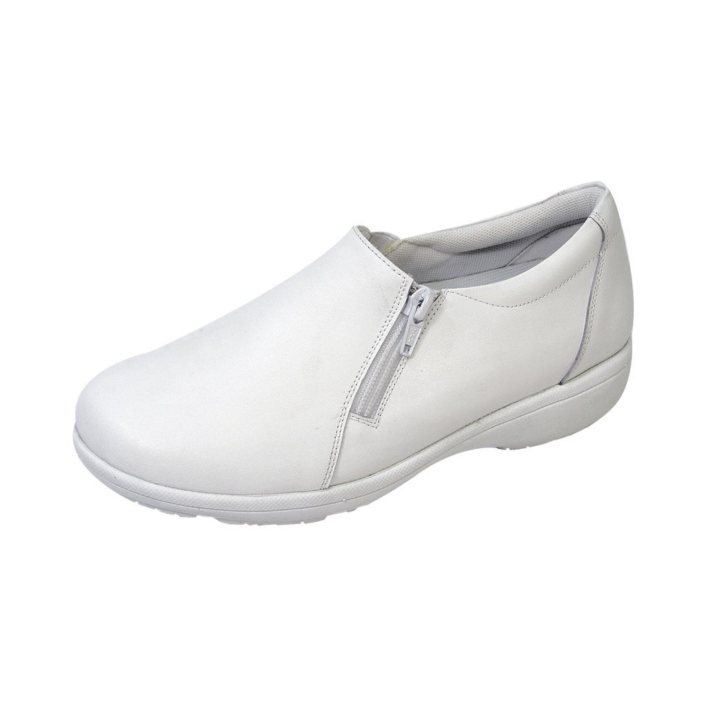24 Hour Comfort  Ester (1064) Women Extra Wide Width Slip On Shoe White 10.5 by 24 Hour Comfort