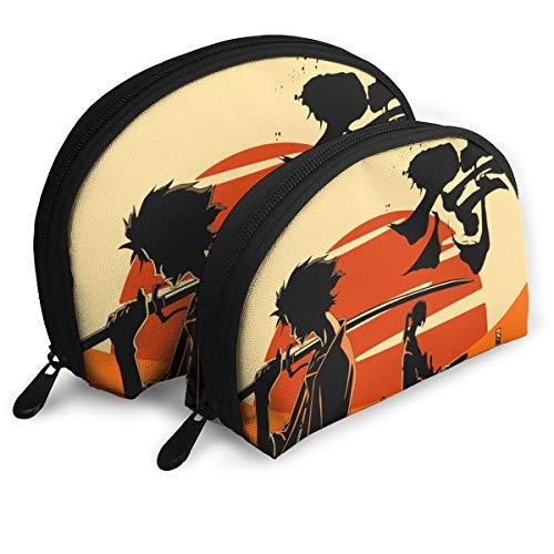 Golden Water Samurai Champloo 2Pcs Waterproof Cosmetic Bag Set Portable Travel Toiletry Pouch Makeup Clutch Bag for Women/Girls