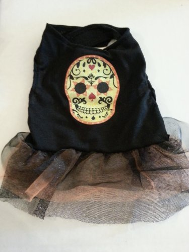 Bret Michaels Dog Costume (Dog Skull Costume - Size Medium)
