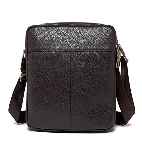 Gift Handmade Unisex Leather Lightweight Satchel Cowhide Messenger Backpack Adjustable Bag Zhhlaixing Mens First Strap With Brown Birthday Shoulder Small Present TqwYXR