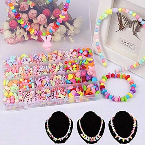 DIY Bead Set, Beads Toy Colorful Craft Acrylic Beads with Bonus Accessories for Girls, 24 Different Beads, 9 Toolkit, Around 600 PCS