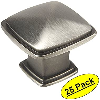 Cosmas 4391AS Antique Silver Modern Cabinet Hardware Knob - 1-1/4  Inch Square - 25 Pack
