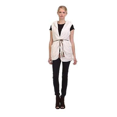 fdcb49676d9 MEIbax Elégant Warmer Casual Bushy Hoodie Long Gilet Manteau Mode  Femmes Blanc Femme Doudoune sans