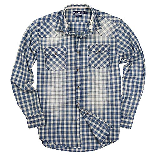 (Mens Western Pearl Snap Long Sleeve Cowboy Shirts (Blue/White, Regular Fit: X-Large))