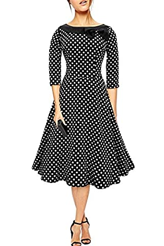 Black Butterfly 'Iris' 50's Polka Dot Collared Dress (Black - White Dots, US 10)