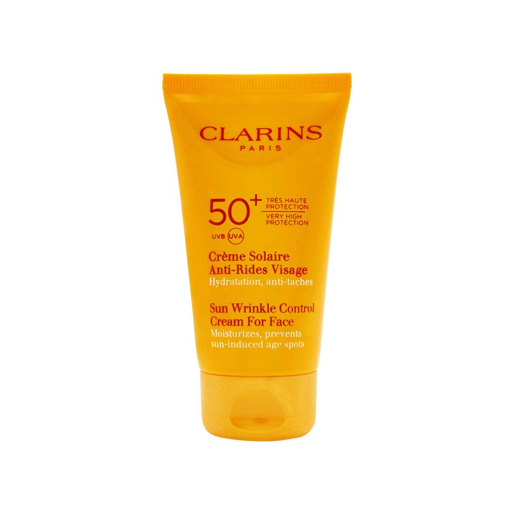 Clarins Paris Anti Aging Sunscreen for Face, Wrinkle Control Cream SPF 50, 2.7 Ounce