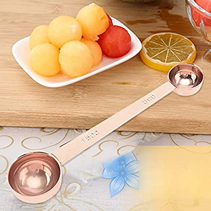 RollingBronze Double Side Measuring Spoon Stainless Steel Coffee Scoop Tablespoon Tool
