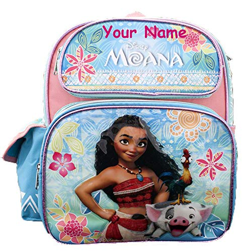 Personalized Disney Moana with Hei Hei the Rooster and Pua the Pig MINI Molded Front Backpack Book Bag for Back to School - 12 Inches