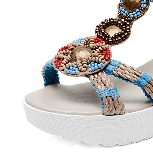 Amoonyfashion Womens Zipper Sandali Open Toe In Pelle Di Mucca Con I Tacchi Blu