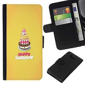 eJoy carpeta del tirón la caja de cuero de alta calidad de la PU Caso protector/Samsung ALPHA G850/-Pastel de Feliz Cumpleaños Dulce Amarillo