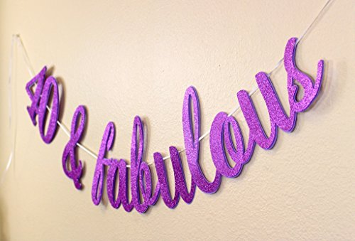 All About Details 40 & Fabulous Cursive Banner,1set, 40th Birthday Banner (Purple) ()