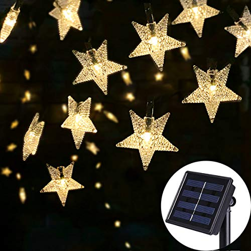 SEMILITS Solar Outdoor String Lights - Waterproof 30ft 50 LED Star String Lights for Garden Christmas Tree Decorations Wedding Party Ambiance Twinkle Lights(Warm White)