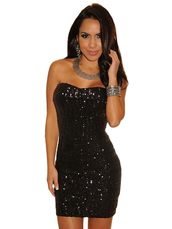 O&W Black Sequined Strapless Mini Dress
