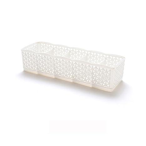 Amazon.com: Storage Box, FIN86 5 Cells Plastic Organizer Storage Box Tie Bra Socks Drawer Makeup Cosmetic Divider Mesh Storage Basket Organizer (Yellow)
