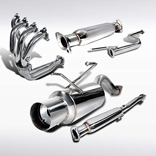 Autozensation For Honda Civic 2DR/4DR N1 Exhaust Header+Converter+Muffler Catback System ()