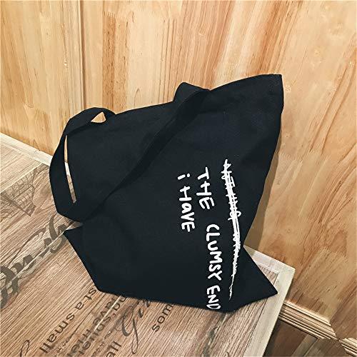 de LANDONA coréenne sac petite toile originale nouvelle toile épaule japonais et noir lettre en sauvage sac littéraire simple étudiant zfxqzrwB