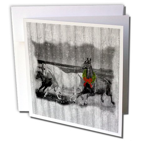 3dRose Western Wild Horses on Faded Gray Barn Wood with Christmas Wreath - Greeting Cards, 6 x 6 inches, set of 12 (gc_62831_2)