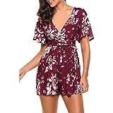 Floral Jumpsuit for Women, Paymenow Women V Neck Short Sleeve Boho Lace Up Beach Short Romper Playsuit (XL, Wine)