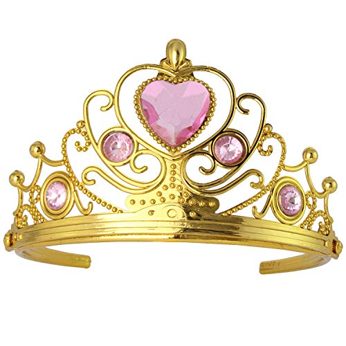 XiangGuanQianYing Princess Plastic Gold Tiara with Pink Rhinestones (1 pcs) ()
