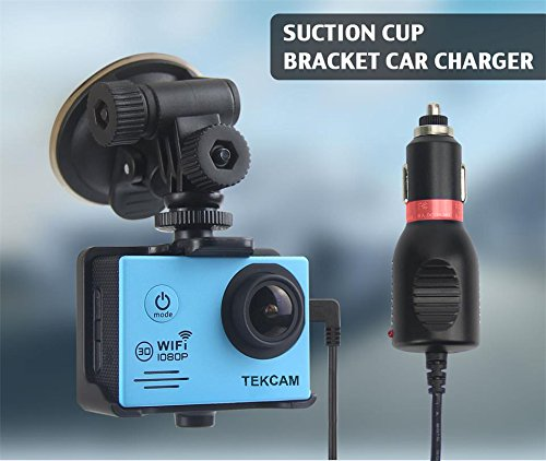 TEKCAM 2in1 Car Charger Mount Suction Cup Bracket Compatible for Waterproof Action Sport Camera