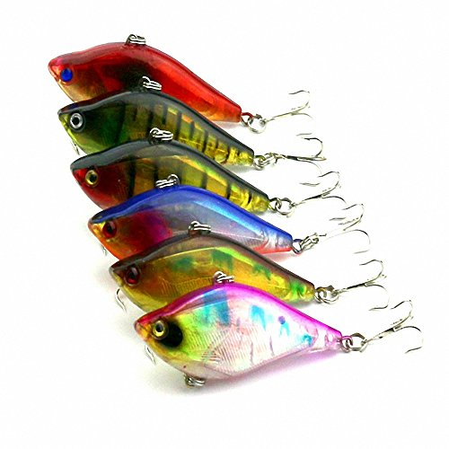 "Maoko Lot6pcs VIB Vibration Rattle Hook Fishing Tackle Sinking Lures Long Shot Baits Whole Swimming Layer 2.36""/0.46oz"