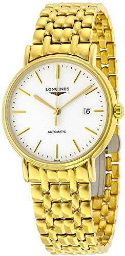 Longines Presence White Dial Yellow Gold PVD Steel Mens Watch L49212128