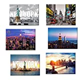 fridge magnet new york city - 6 set New York NYC Souvenir Large Photo Picture Fridge Magnets 2.5 x 3.5 inch - Pack of 6