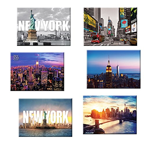 6 set New York NYC Souvenir Large Photo Picture Fridge Magnets 2.5 x 3.5 inch - Pack of 6 (New Refrigerator Magnet York)