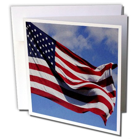 3dRose Patriotic American Flag Oil Painting 6 x 6 Inches Greeting Cards, Set of 12 -