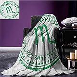 Zodiac Scorpio waterproof blanket Retro Zodiac Rubber Stamp Design with Grunge Look Stars and Dates plush blanket Fern Green and White size:50''x60''