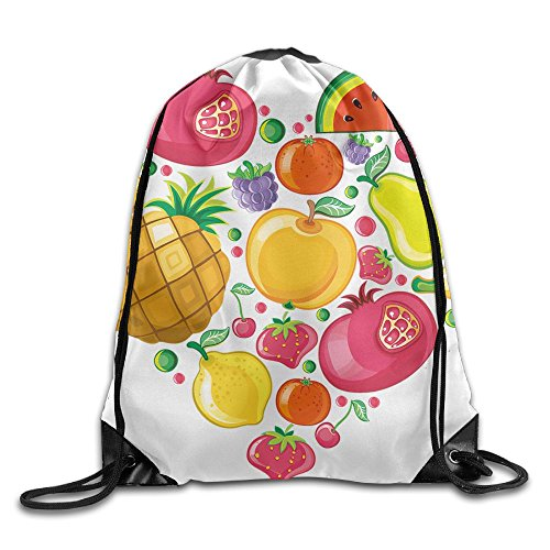 Fruit Heart Beam Drawstring Travelling Bundle Pocket Storage Gym Bag Ball Backpack