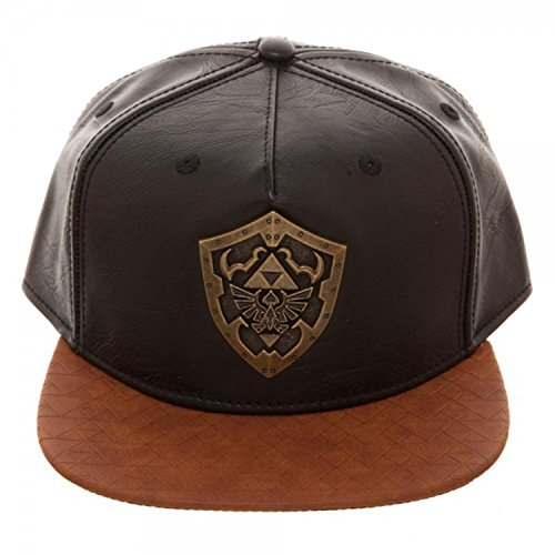 Bioworld Novelty The Legend of Zelda - Metal Shield Snapback Hat , Brown/ Black , One (Shield Cap)