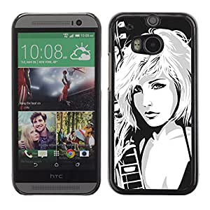 Qstar Arte & diseño plástico duro Fundas Cover Cubre Hard Case Cover para HTC One M8 ( Girl Drawing Art Rock Music Blonde Babe Woman)