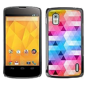 Estuche Cubierta Shell Smartphone estuche protector duro para el teléfono móvil Caso LG Google Nexus 4 E960 / CECELL Phone case / / polygon art blue yellow pattern white /