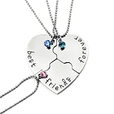 2bd65c3e5b96e SIVITE Best Friends Forever and Ever Necklace with Crystal Broken Heart  Charm Pendant Set Friendship Necklace