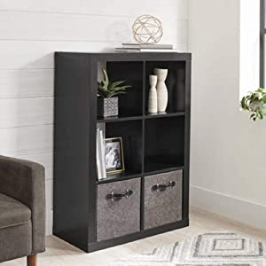 Better Homes and Gardens 4-Cube Organizer Storage Bookcase Bookshelf (4, White) (Solid Black, 6 Cube)