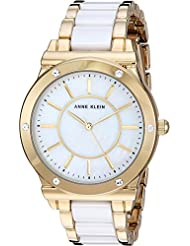 Anne Klein Womens AK/2820WTGB Swarovski Crystal Accented Gold-Tone and White Ceramic Bracelet Watch