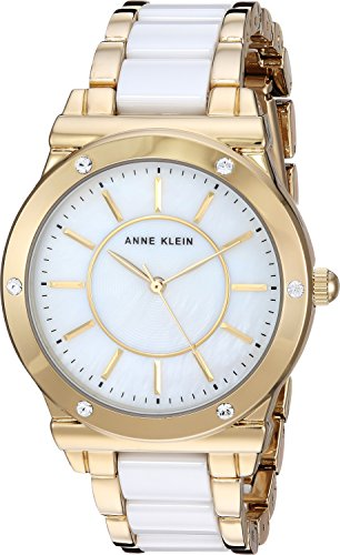 Anne Klein Women's AK/2820WTGB Swarovski Crystal Accented Gold-Tone and White Ceramic Bracelet ()