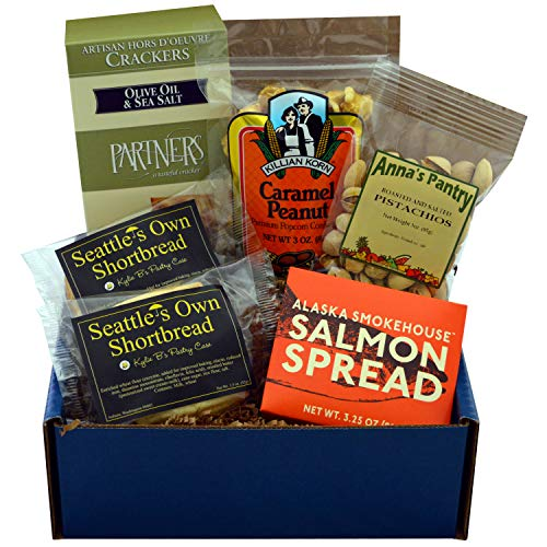 (Starry Night Gift Box featuring Smoked Salmon Spread, Crackers, Pistachios, Shortbread & Caramel Corn with Peanuts)