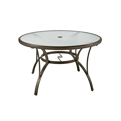 Beau Hampton Bay Commercial Grade Aluminum Brown Round Outdoor Dining Table