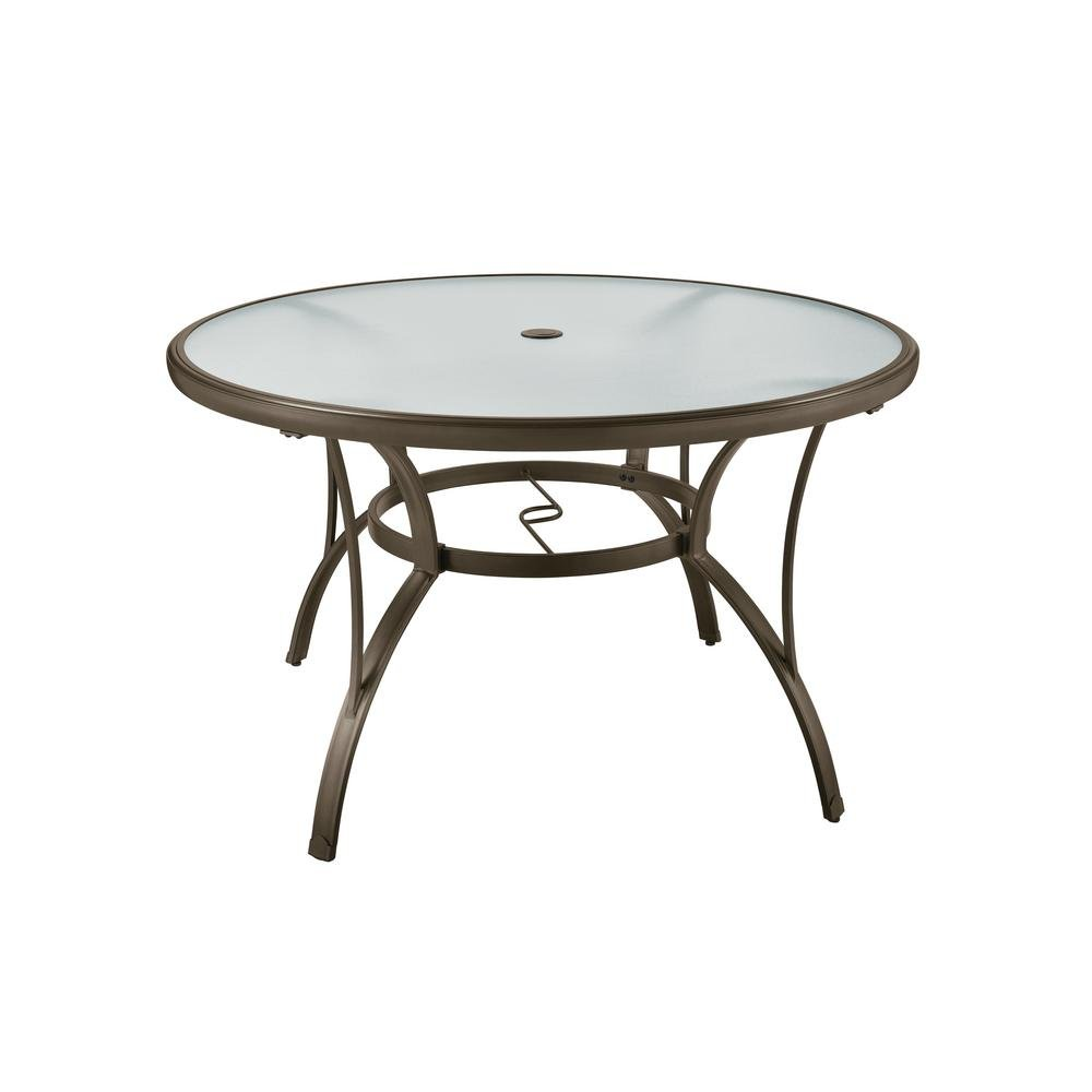 Hampton Bay Commercial Grade Aluminum Brown Round Outdoor Dining Table