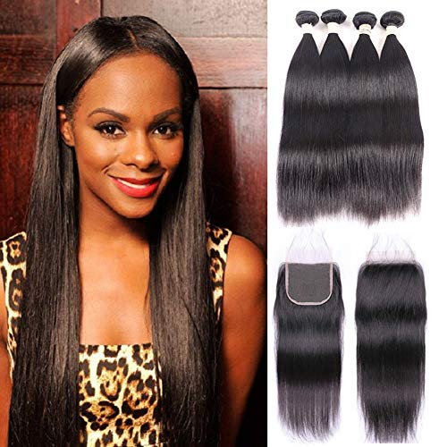 Lace Memory - Brazilian Virgin Straight Hair Bundles with Closure 20 22 22 24 +18 4x4 Free Part With Baby Hair 100% Unprocessed Brazilian Straight Human Hair Bundles with Lace Closure Natural Black