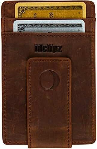 idclipz Leather Money Clip Wallet - Ultra Slim Magnetic Design - Secure RFID Blocking Travel Technology