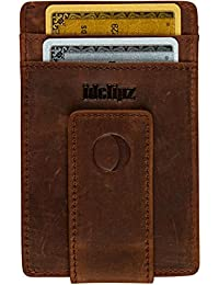 Slim Leather Money Clip Wallet for Men - Best Front Pocket Wallet with Credit Card Holder & ID Case - RFID Blocking (Distressed Brown)