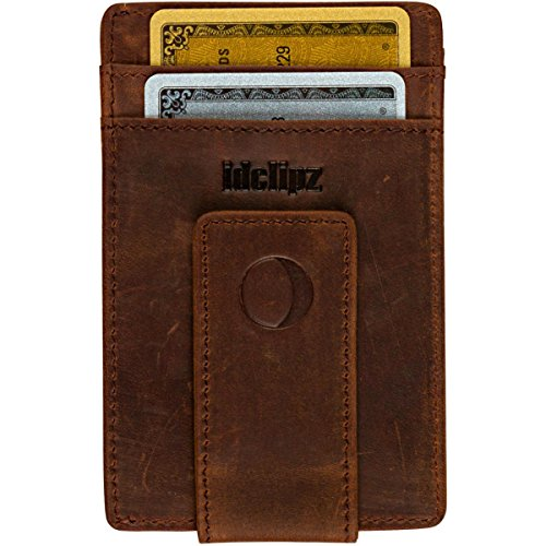 Money Bill Clip Wallet (Slim Leather Money Clip Wallet for Men - Best Front Pocket Wallet with Credit Card Holder & ID Case - RFID Blocking (Distressed Brown))