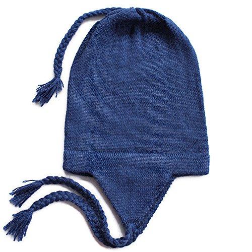 Alpaca Beanie Hat - The Alpaca Collection, 100% Alpaca Chullo Beanie Hat Sapphire Blue One Size