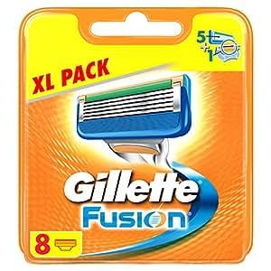 Gillette Fusion - Cuchillas de recambio para maquinilla de afeitar (8 unidades)