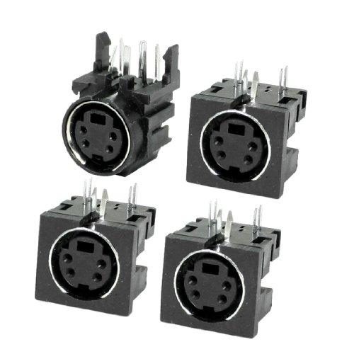 (uxcell 4 Pcs PCB Mounting 4 Pin Female S Jack DVD Mini Din Sockets)